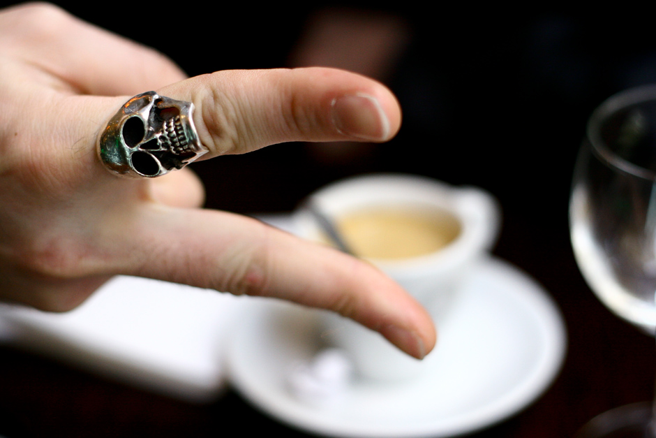 Skull ring and coffee