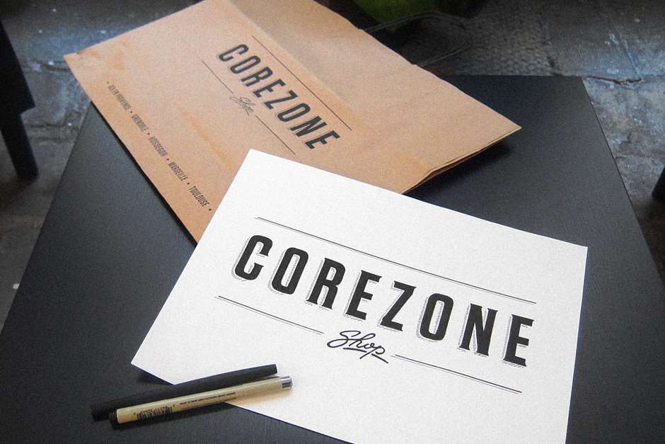 Handmade type for Corezone shopping bags