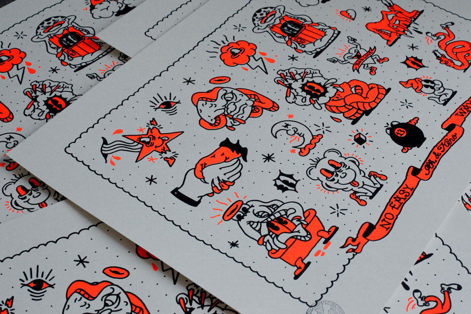 "Ilk & Keno screenprint ""fluo flash tattoo"""