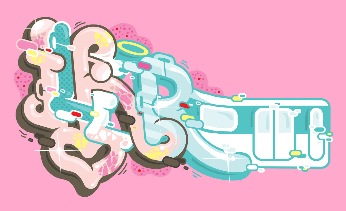 Ilk train subway pink graffiti illustration